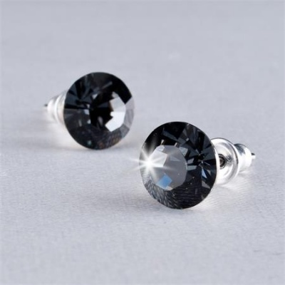 Fülbevaló, Black Diamond SWAROVSKI® kristállyal, 8mm, ART CRYSTELLA®